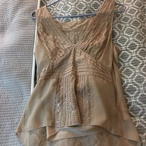DKNY size 6 silk nude sequin top.